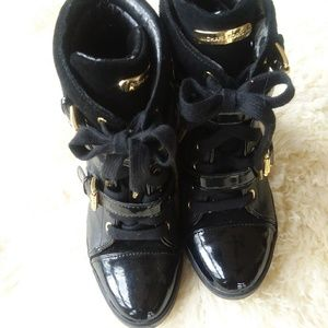 Michael Kors Shoes - Michael Kors Black Wedge Sneakers